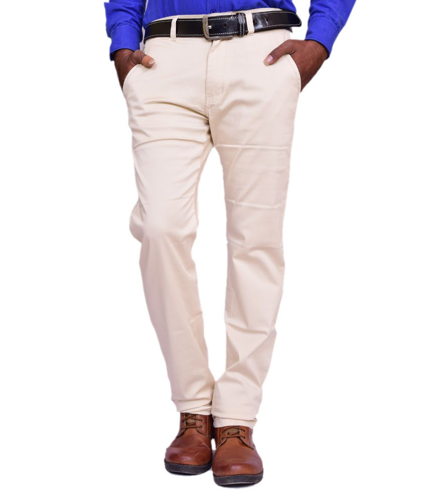 British Terminal White Cotton Lycra Comfort Fit Casual Chinos
