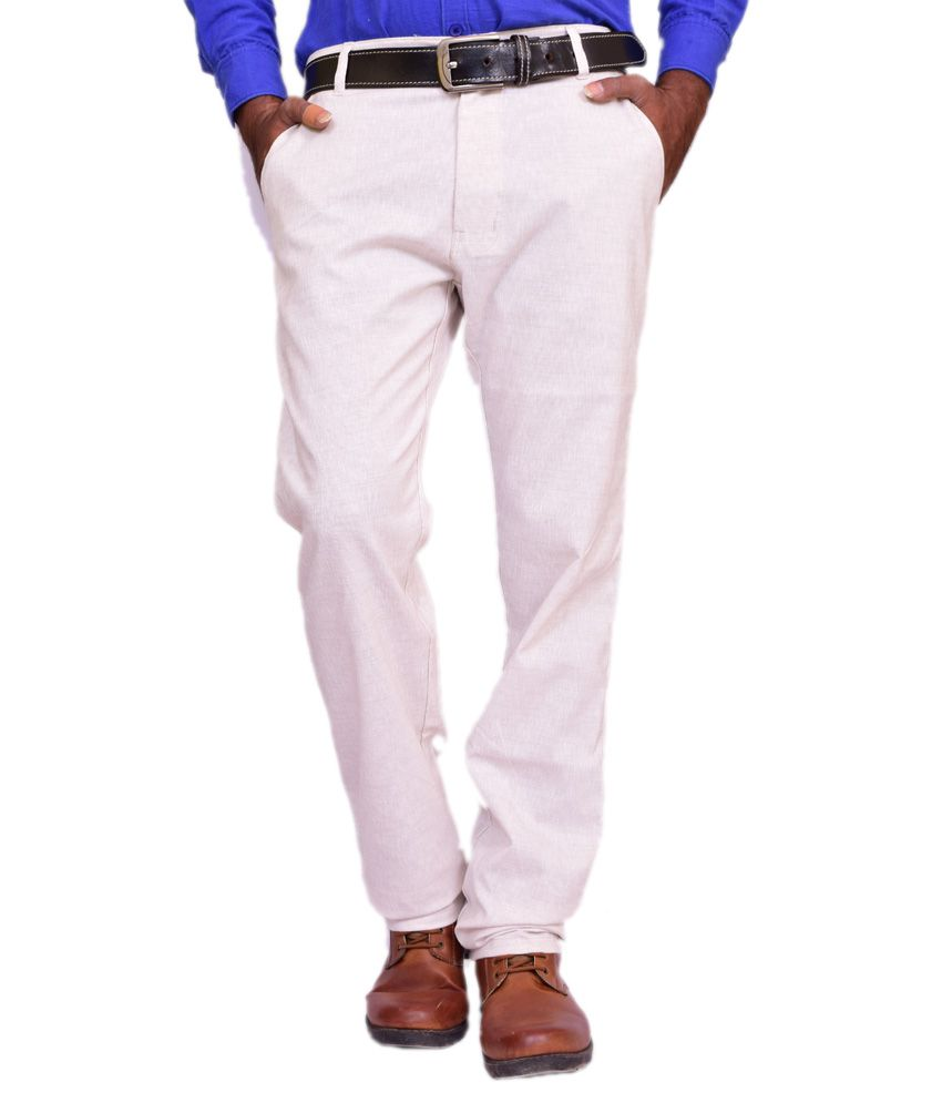 British Terminal White Linen Comfort Fit Casual Chinos