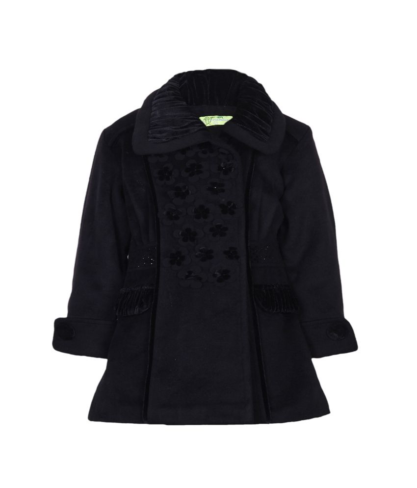 Cutecumber Black Mesh Girls Embellished Jacket