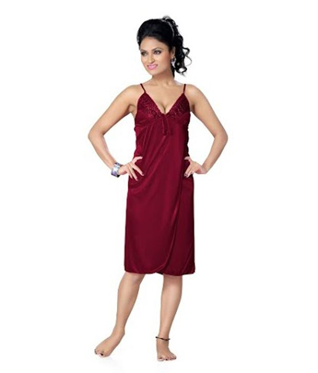 Buy Go Glam Pink Satin Nighty   Night Gowns Pack of 2 Online at Best ... e9162b0bc