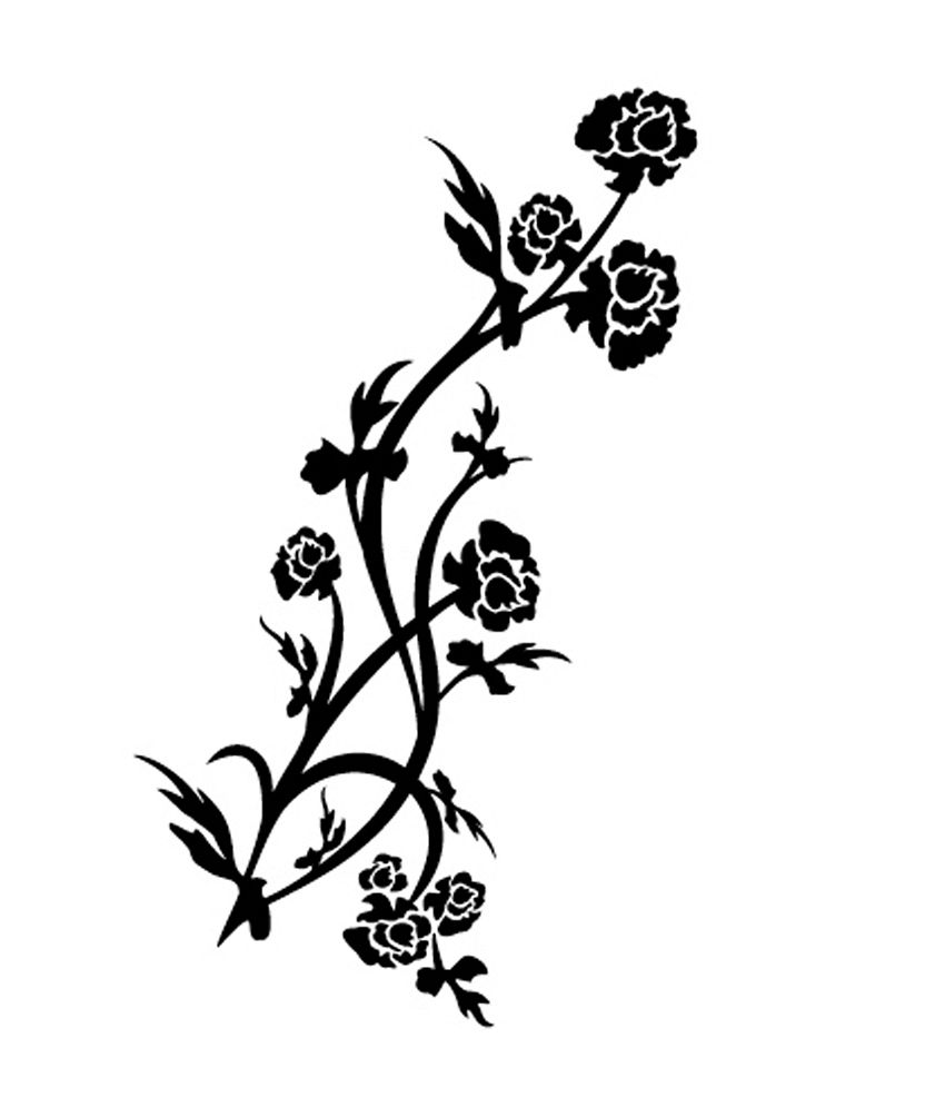 Pindia Black Flower Design Wall Sticker