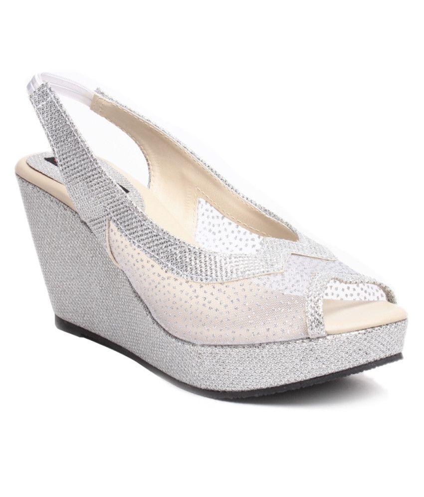 Ruby Silver Wedges Heels Price In India Buy Ruby Silver