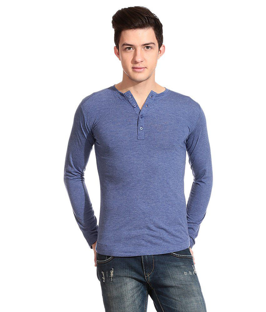 Tinted Blue Cotton Blend Full Sleeves T-shirt