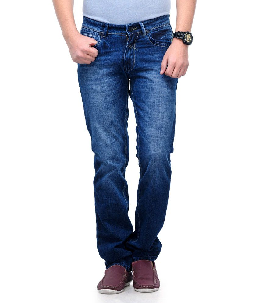 Canary London Blue Cotton Regular Fit Jeans