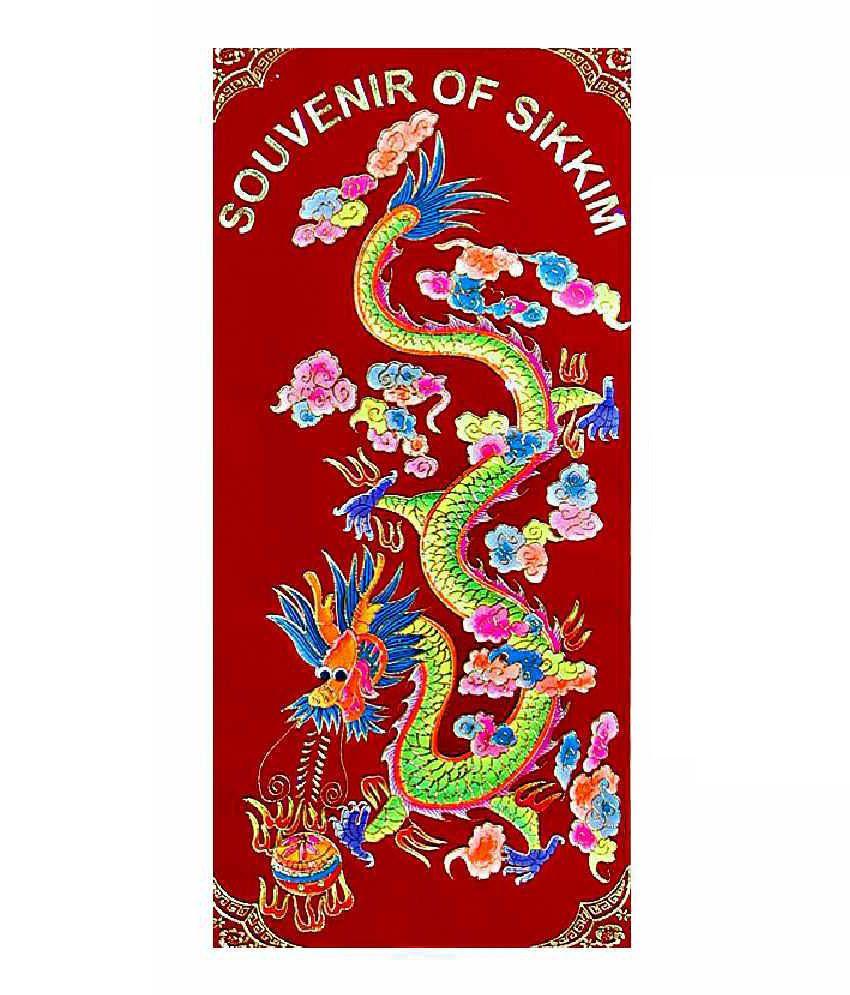 Dollsofindia Dragon Tibetan Thangka Folk Art Painting Without Frame