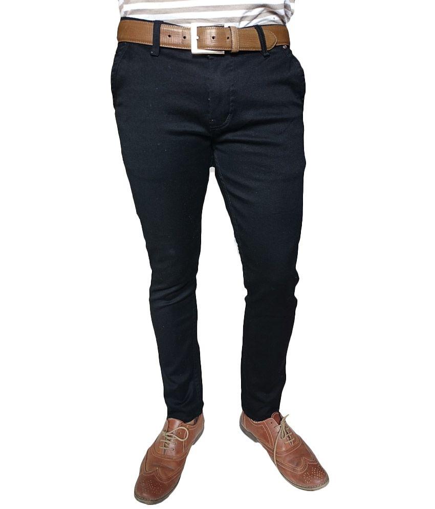 Oiin Black Cotton Blend Slim Fit Cross Pocket Jeans