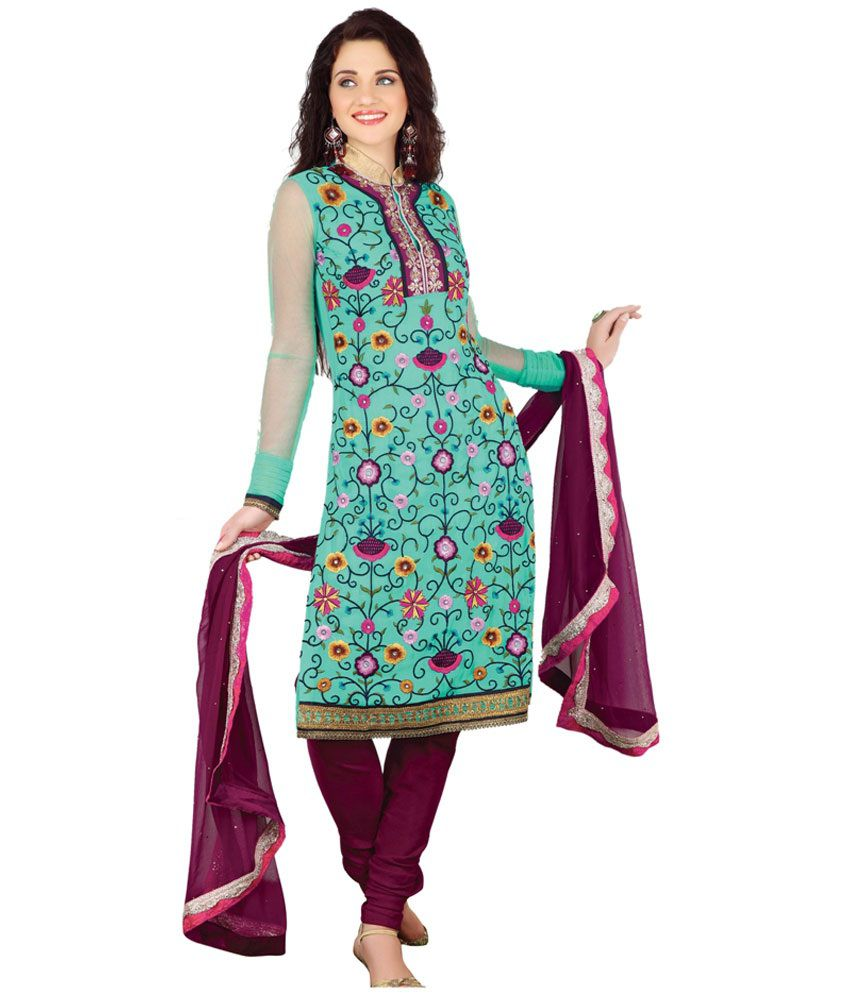 Ruhani All Seasons Blue Faux Georgette Unstitched Dress Material