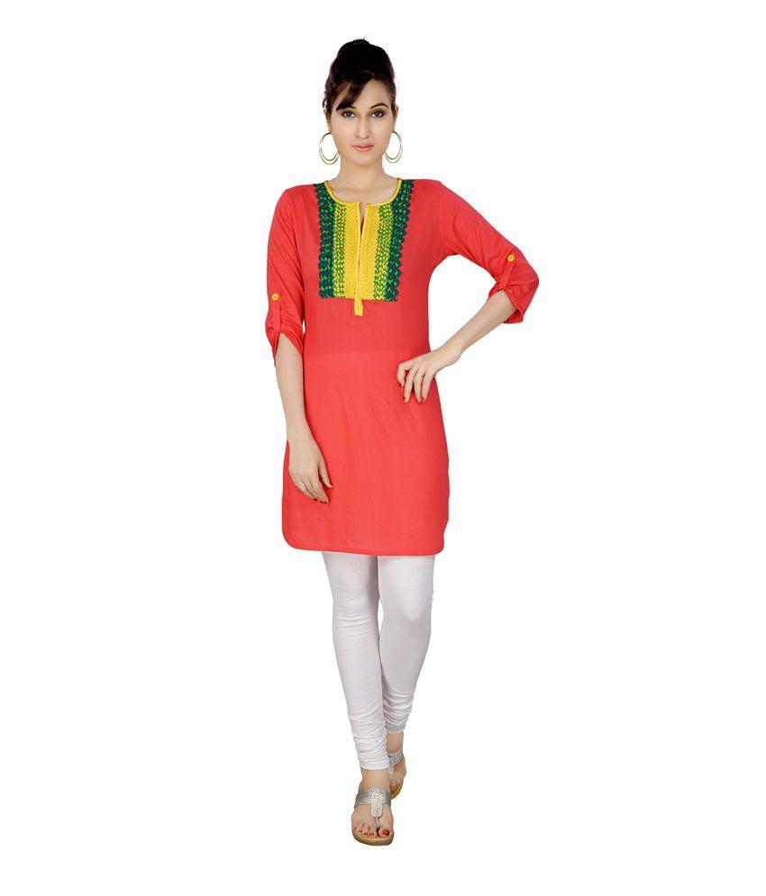 Satya Orange Viscose Embroidered Short Kurti