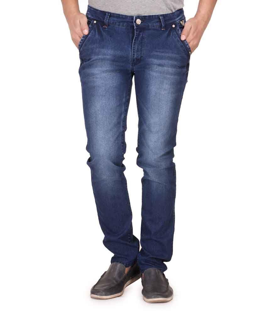 Canary London Blue Cotton Blend Slim Fit Jeans
