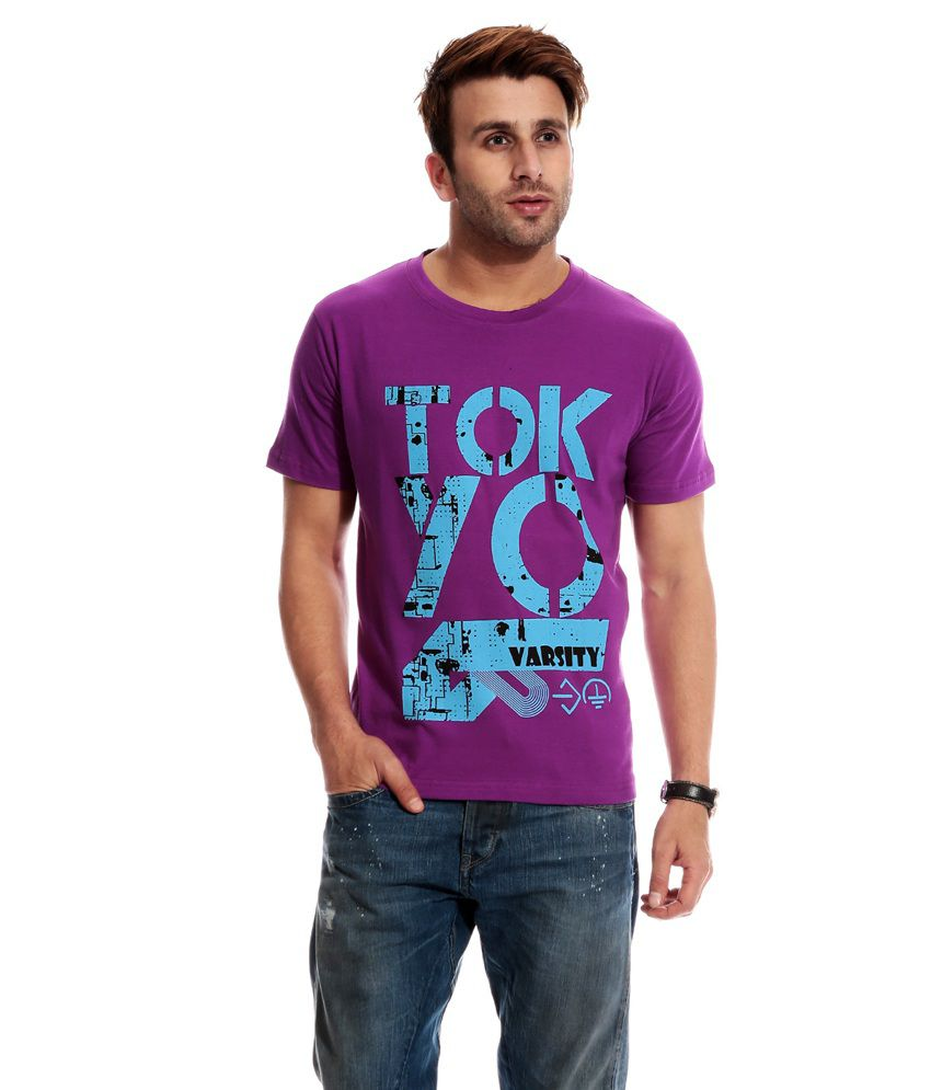Globalite Purple Cotton Printed Round Neck T-shirt