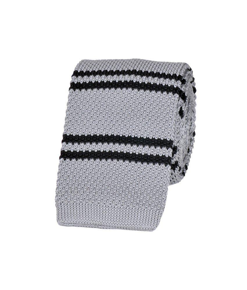 Tiekart Gray Striped Knitted Necktie