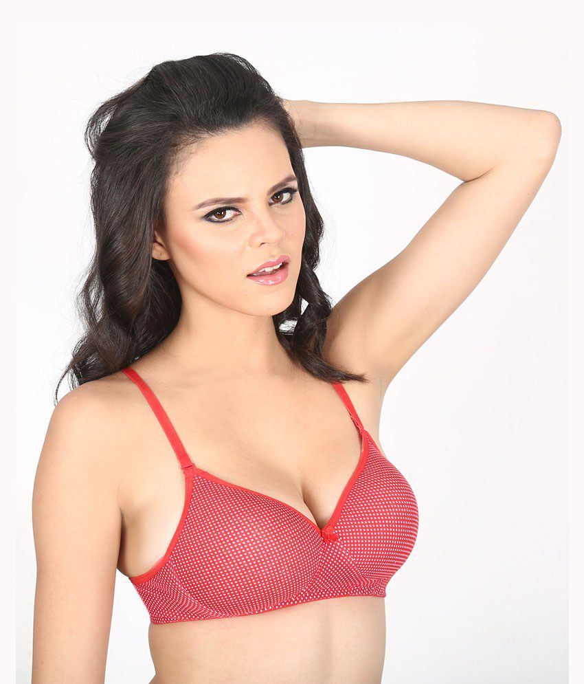 7196fe038f3c4 Buy Vermilion Polka Padded Bra With Free Transparent Straps Online ...
