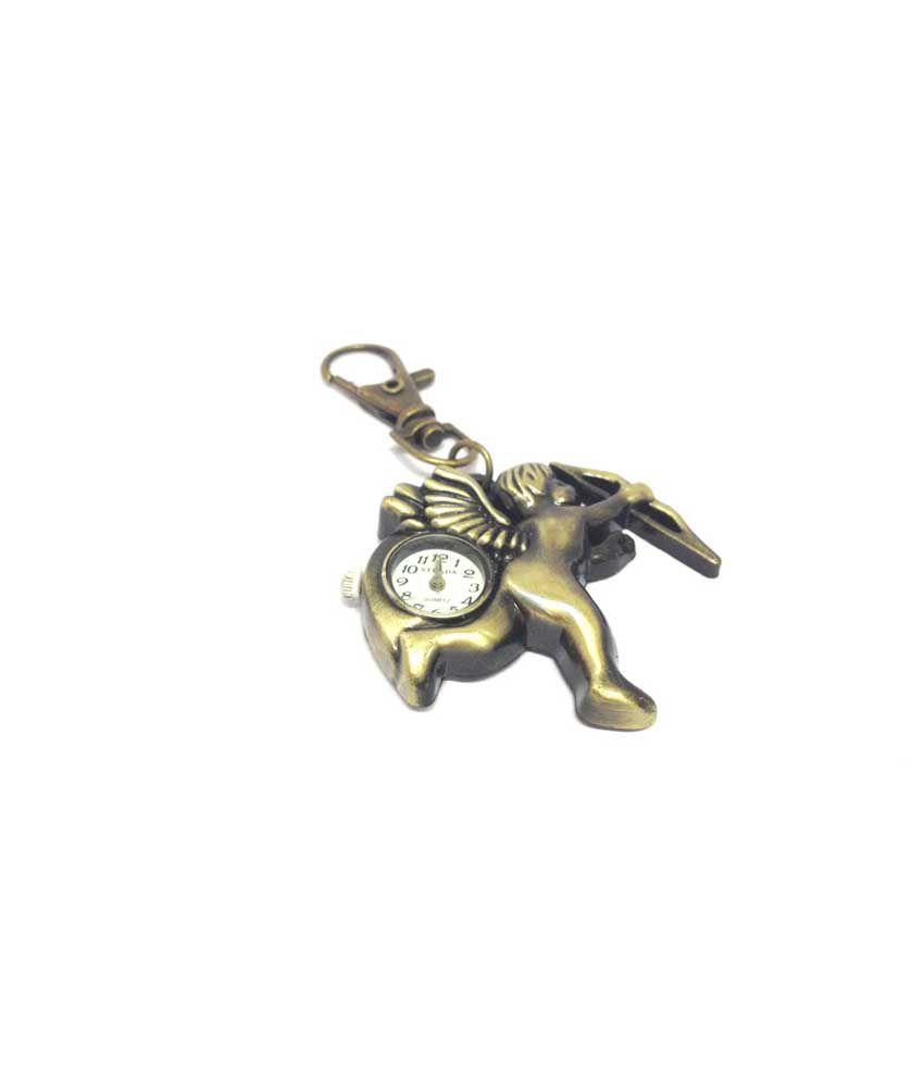Kairos Designer Cupid Clock Keychain Vintage Key Chain