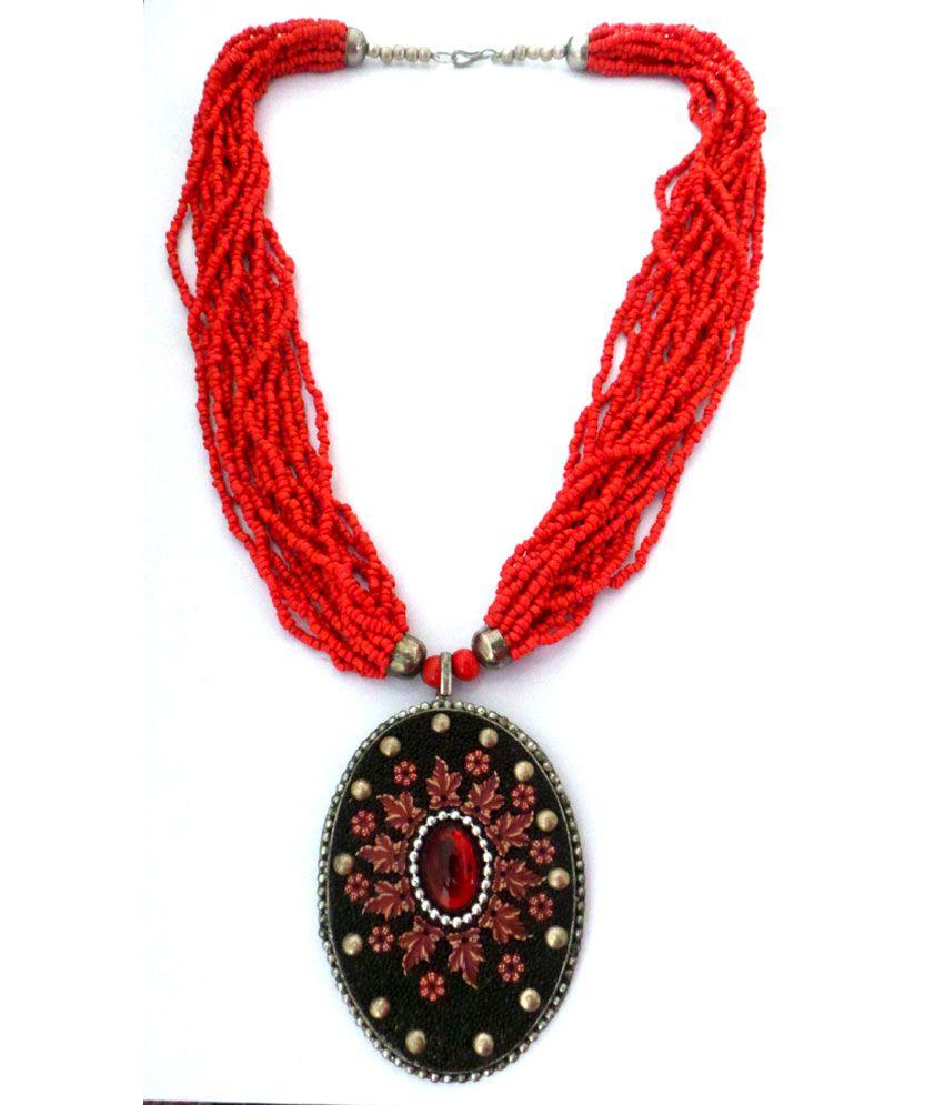 Modish Look Orange Color Antique Look Necklace
