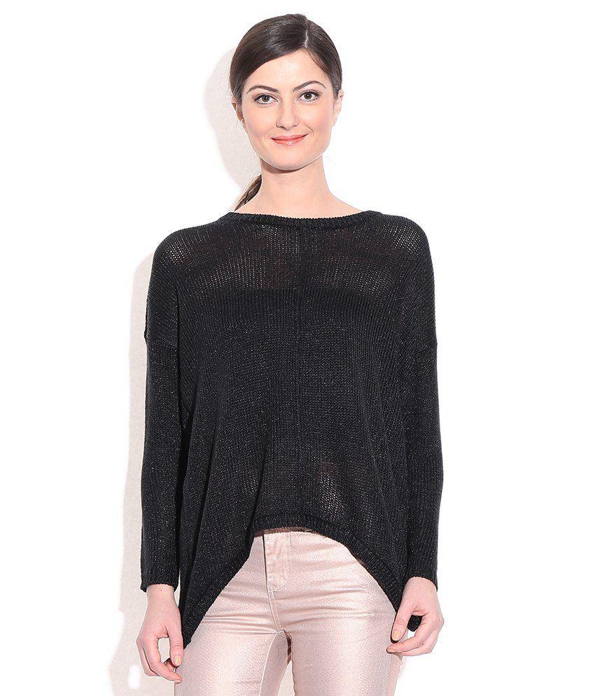 Vero Moda Black Acrylic Round Neck Pullover