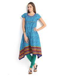 Vishudh Blue Cotton Printed Kurti
