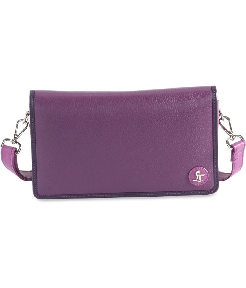 Leather Talks Purple Leather Elvis Cross Body Sling Bag