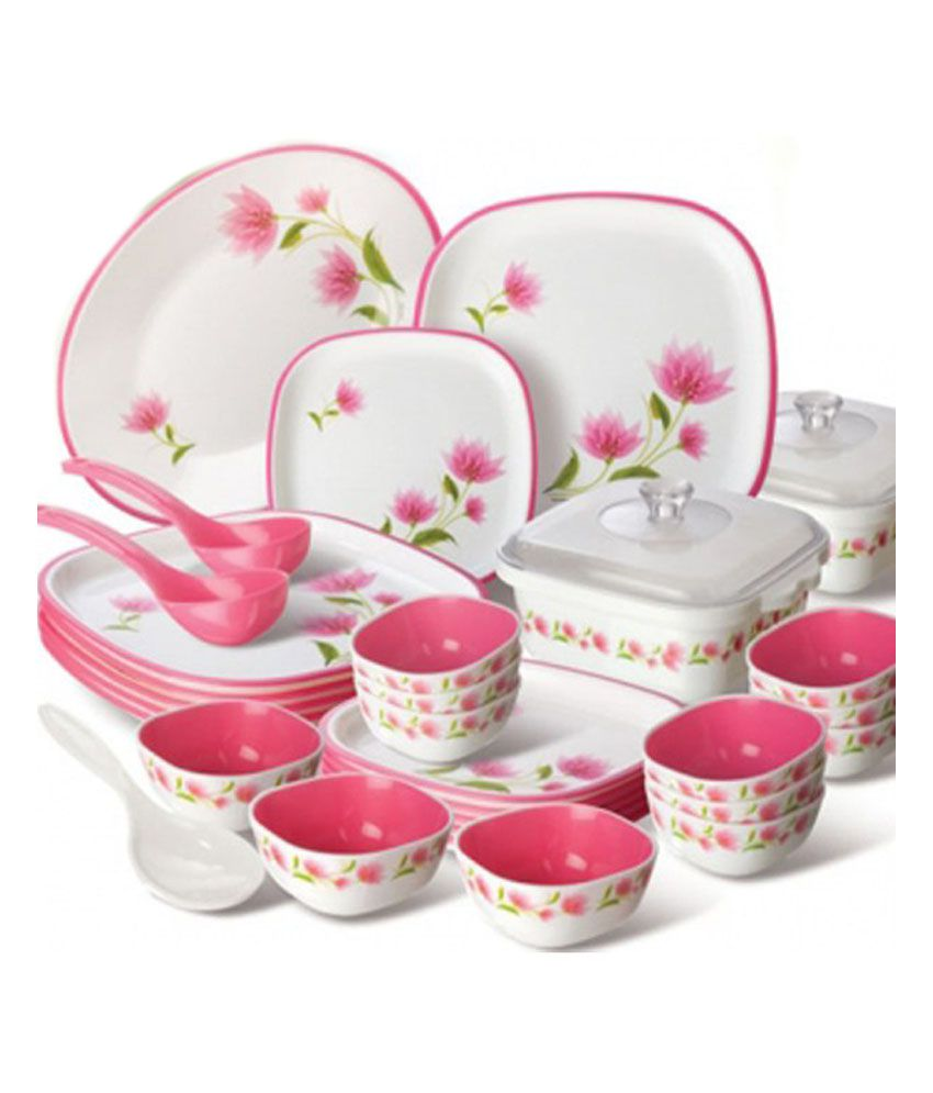Nayasa Printed Microwaveable Dinner Set - 32 Pcs  sc 1 st  Snapdeal : best dinner plate sets - pezcame.com