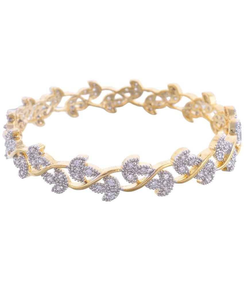 Aditri Aditri Classy Gold Plated American Diamond Bangle Set Of 2 (Yellow)
