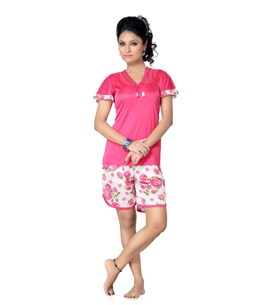 Go Glam Satin Nightsuit Sets Price in India  5e337f07c