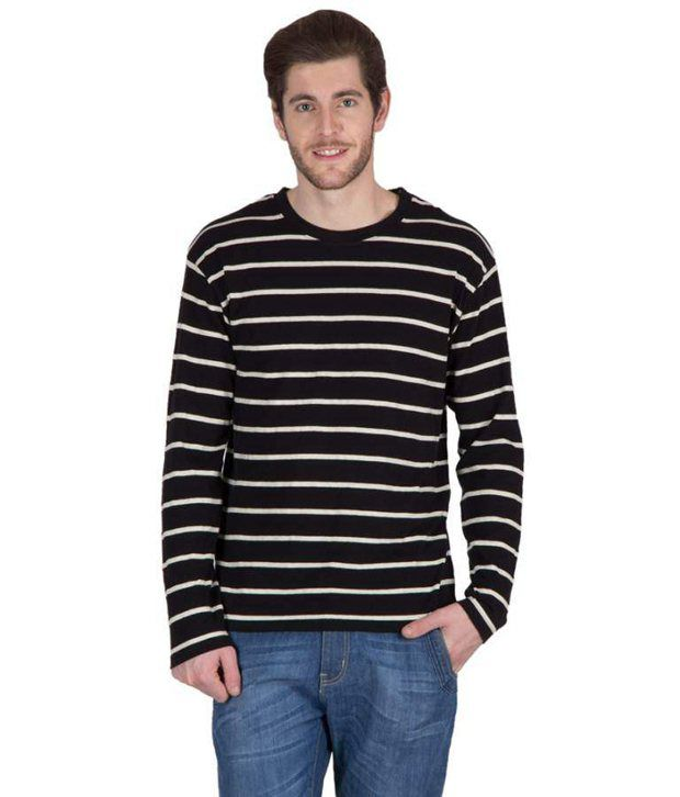Hypernation Black and White Color Striped Round Neck Cotton Full Sleeves T-shirts For Men