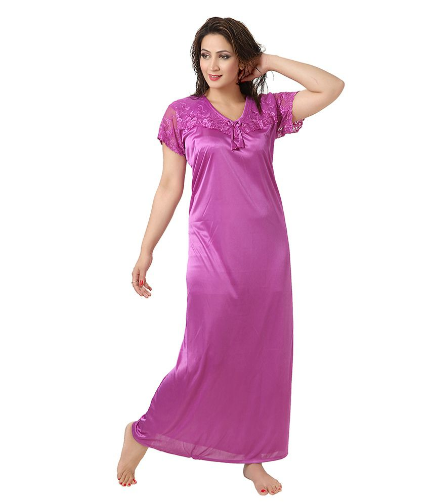 c1d91364f3f Buy Kuukee Purple Poly Satin Nighty Online at Best Prices in India -  Snapdeal