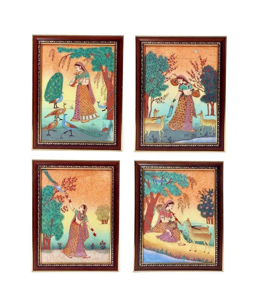 Little India Four Piece Combo Set Of Gemstone Meera Paintings 365