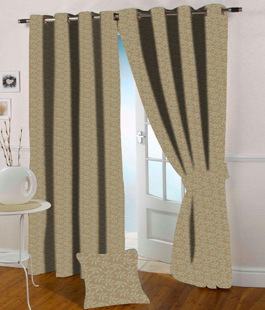 Presto Single Long Door Eyelet Curtain Floral Beige