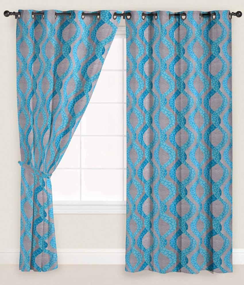 Presto Single Window Eyelet Curtain Contemporary Blue