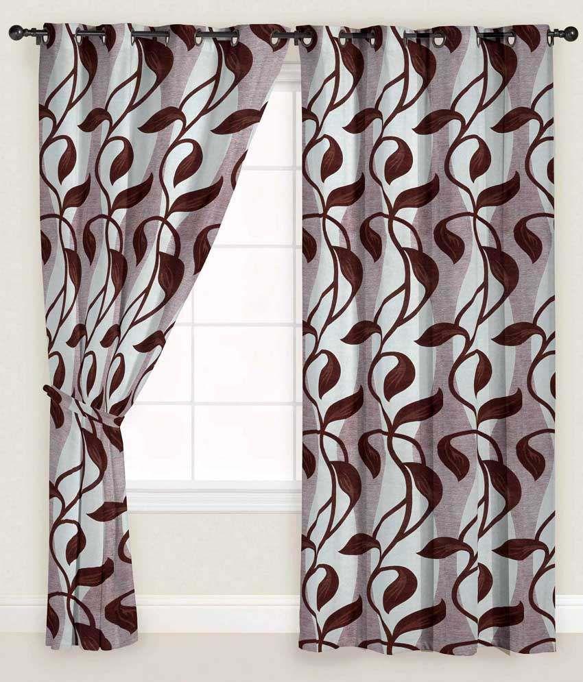 Presto Single Long Door Eyelet Curtain Floral Brown