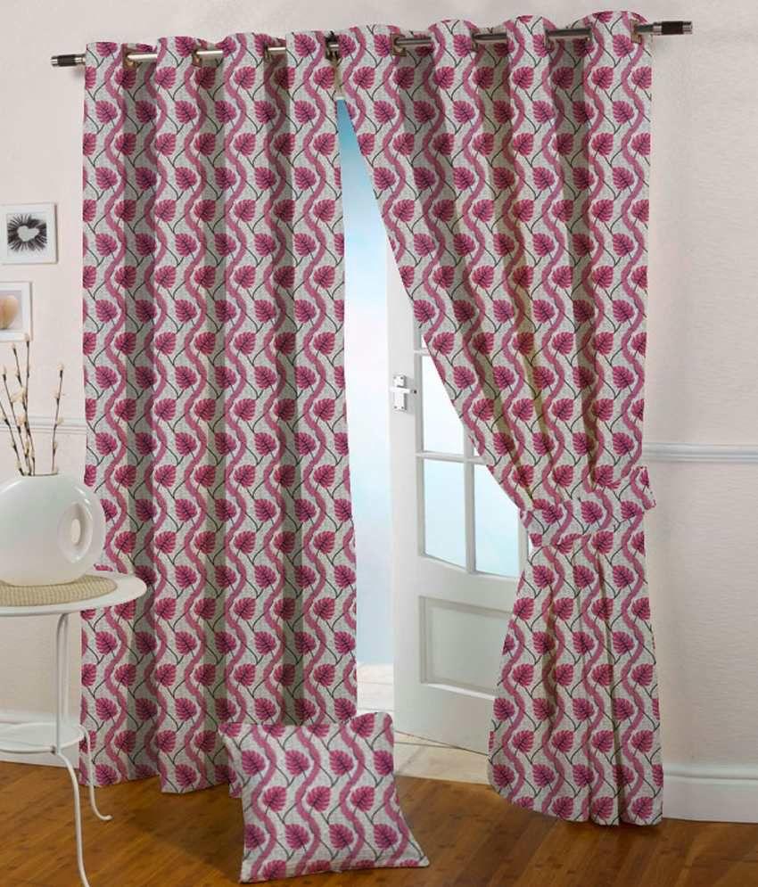 Presto Single Door Eyelet Curtain Floral Pink