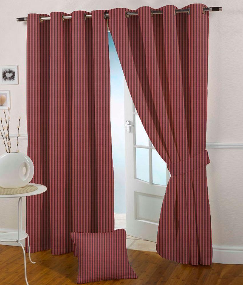 Presto Single Long Door Eyelet Curtain Stripes Red