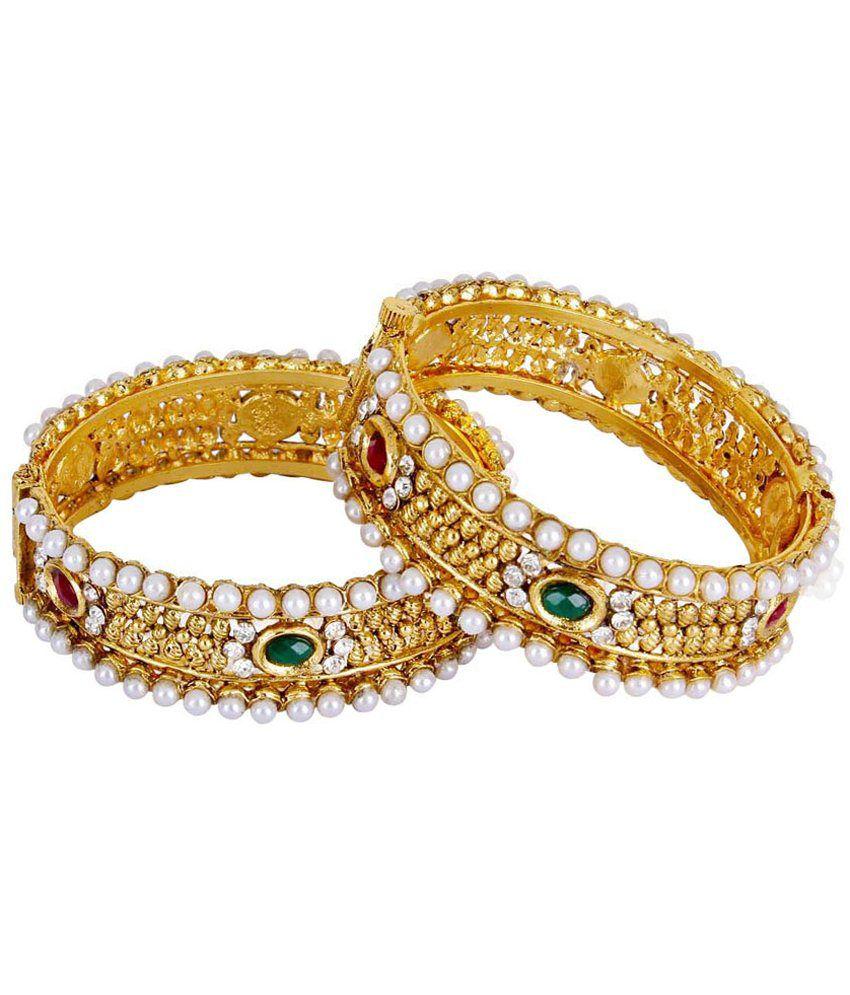 Shining Diva Golden & White Bangles Set Of 2