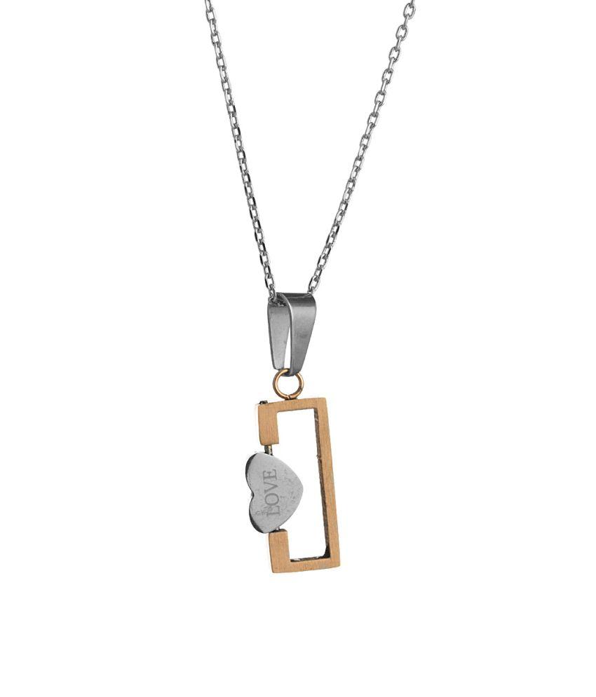 Voylla Shiny CZ Adorned Heart Pendant With Chain