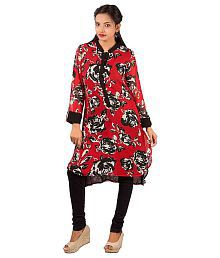 Goodwill Impex Red Women's Designer Floral Printed Long Rayon Kurta