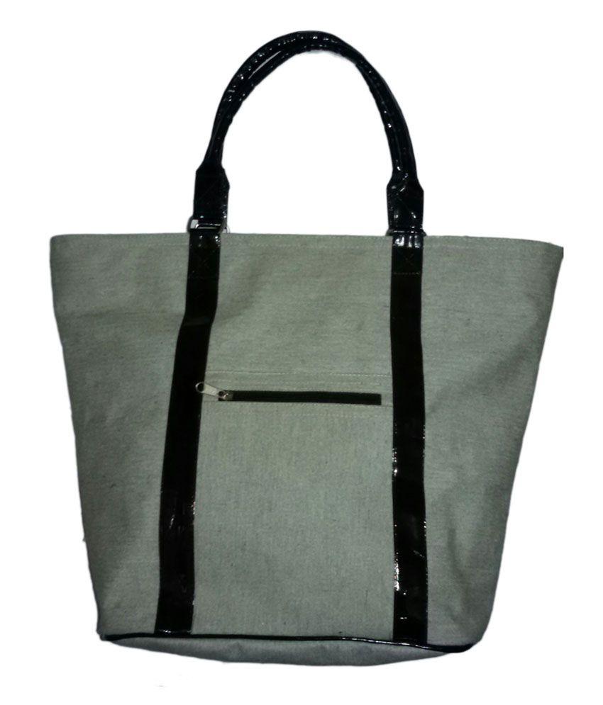 A A Creations Gray Canvas Laminated Water Proof Handbag