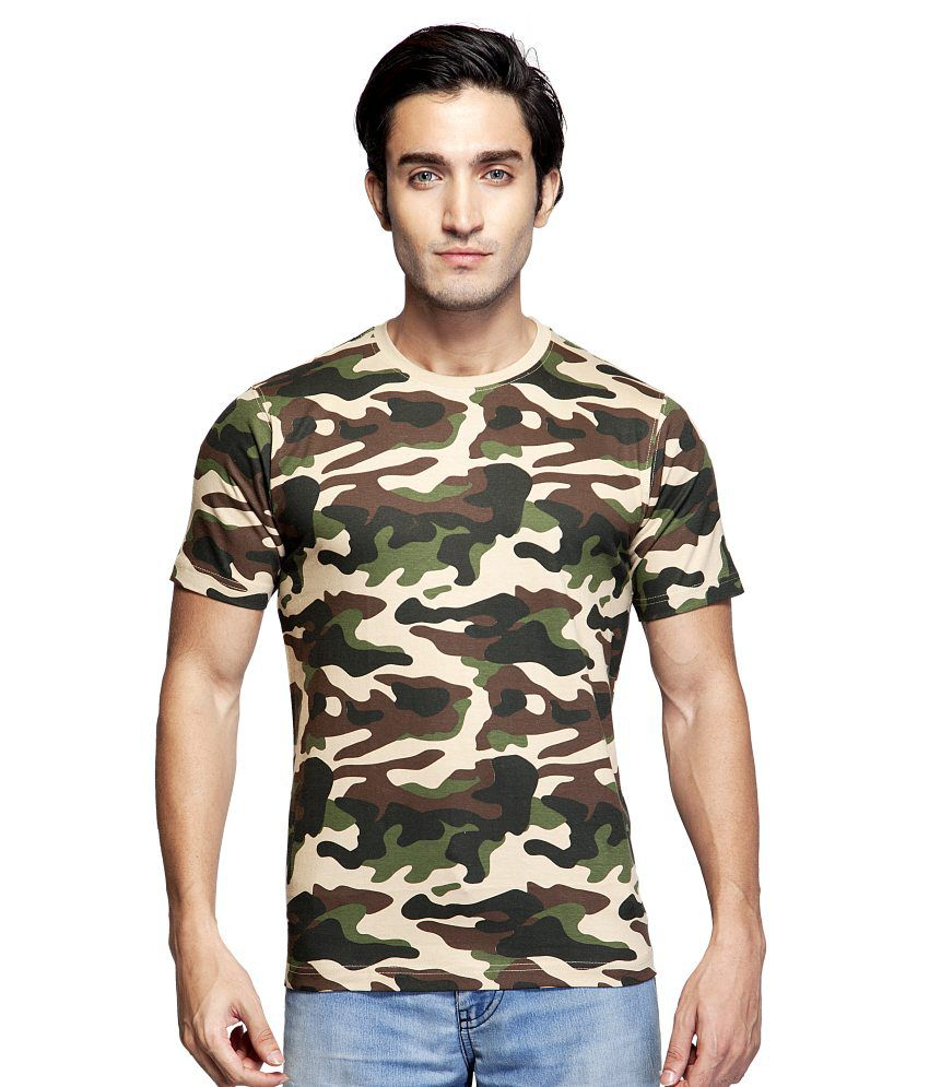 Clifton Brown Cotton Round Neck Army Printed T Shirt