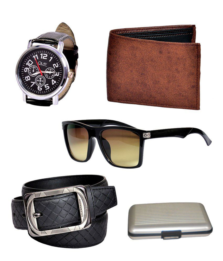 Domestiq Super Kalewensan Pro Belt, Mens Leather Wallet ,stylish Watch & Sunglass - Set Of 14