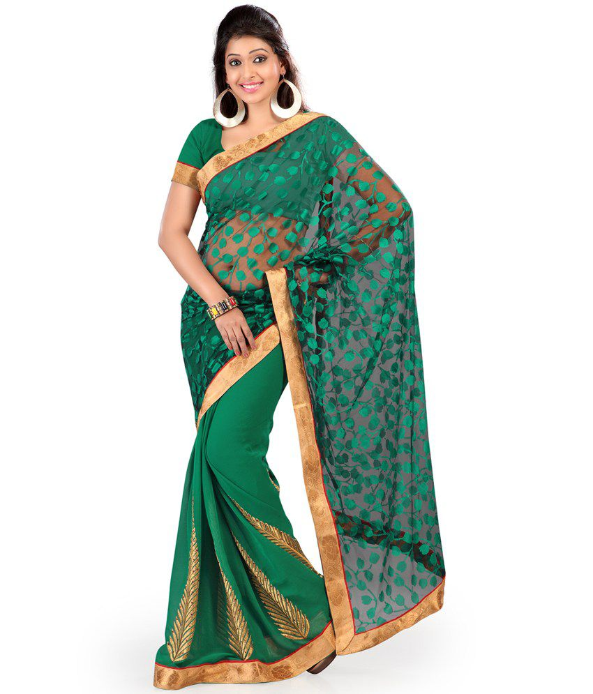 Indian House Green Embroidered Semi Chiffon Saree With Blouse Piece