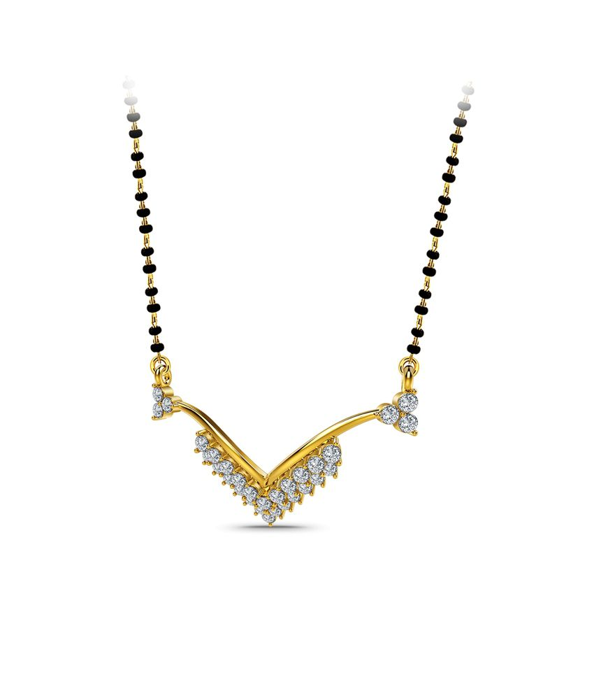 Naayab V- Shaped  Contemporary Gold 18kt Hallmarked Mangalsutra Without Chain