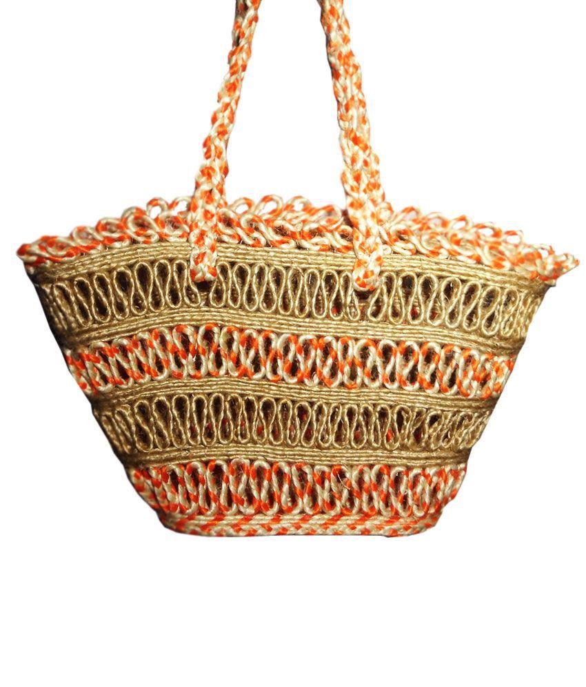 Rex Orange Tri Colour Classic Jute Hand Bag