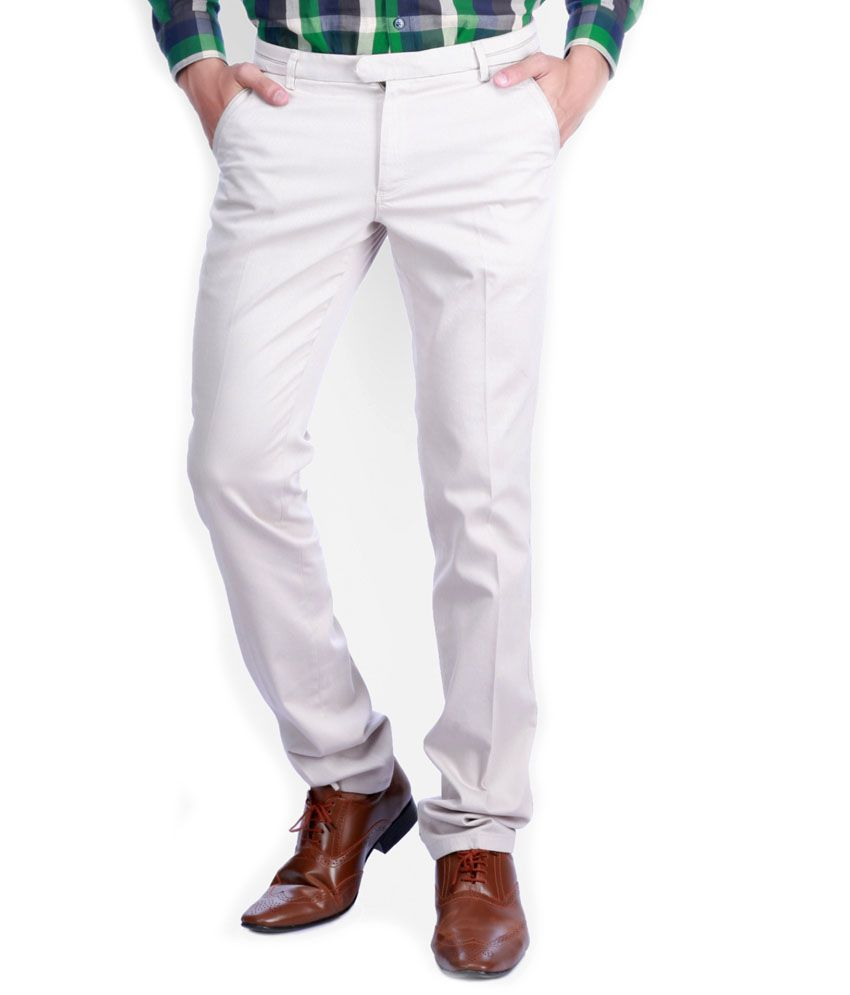 Sixth Element Beige Straight Fit Casual Trouser