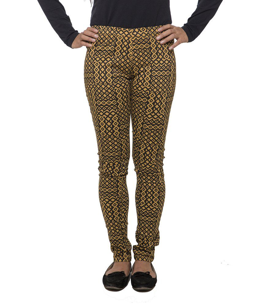 Fashion Cult Yellow Cotton Lycra Jeggings