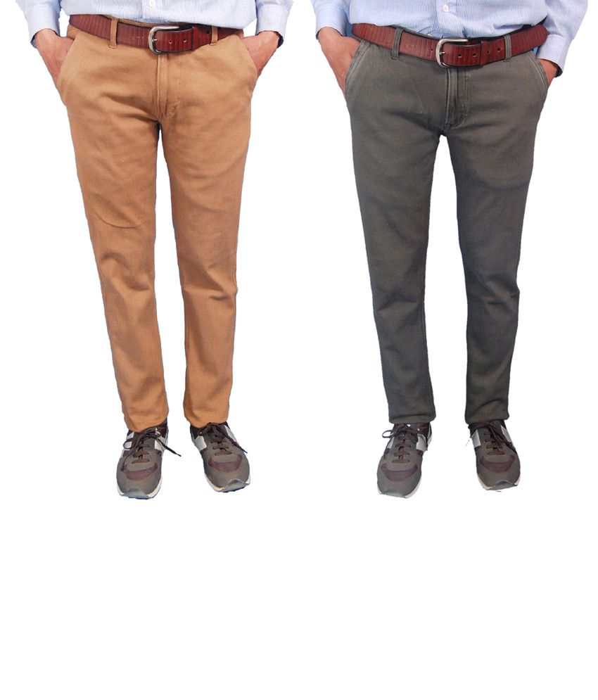 Fashion N Style Set Of 2 Beige And Green Cotton Lycra Trouser