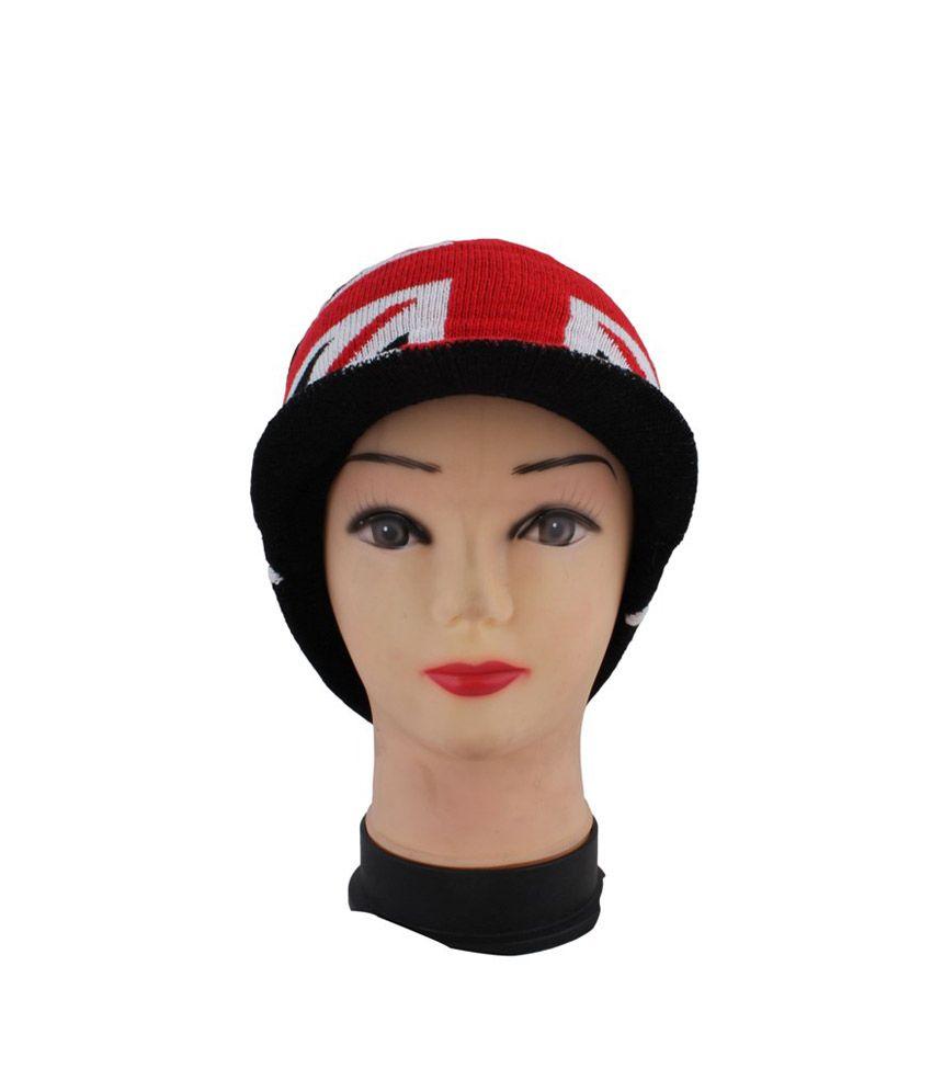 Innovationthestore Black Woollen Single Winter Skull Cap For Men