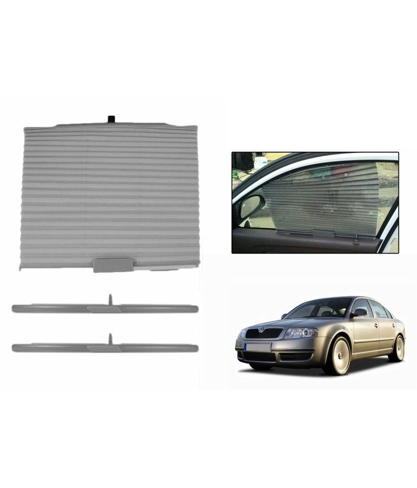 Grey Car: Speedwav Grey Car Auto Folding Sunshade Curtain For Skoda