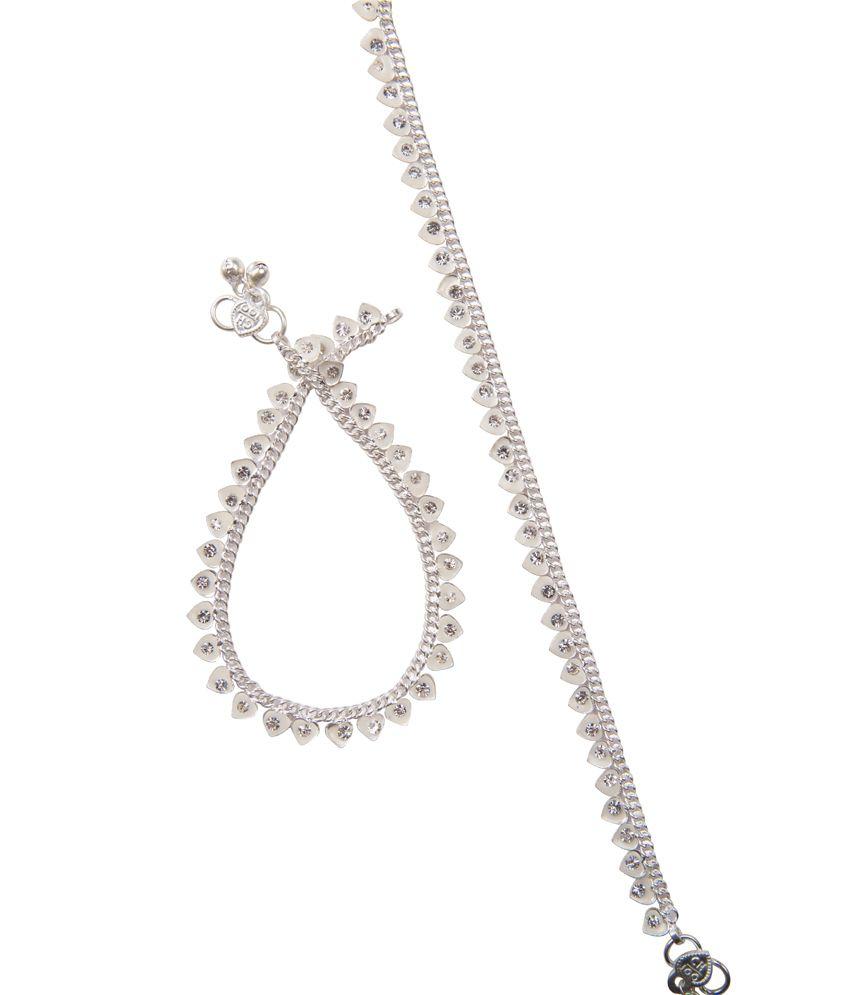 Taj Pearl Silver White Hearts Anklets