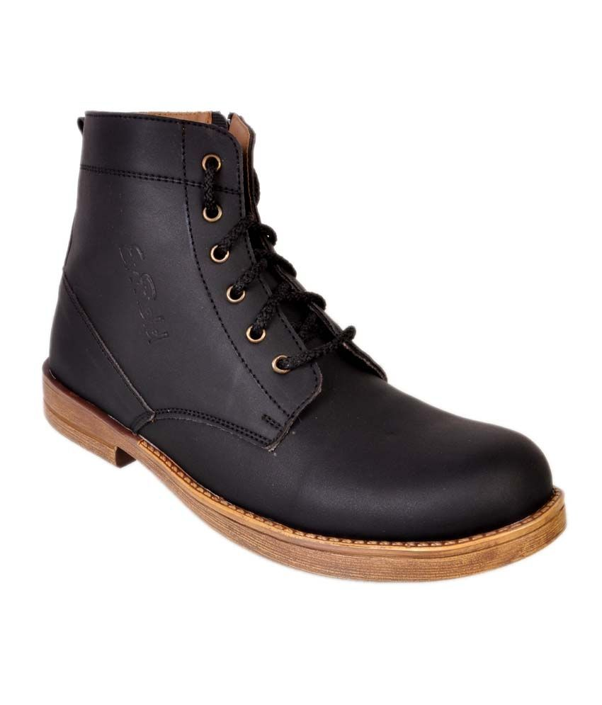 24 Casuals Enfield Black Boot Shoes