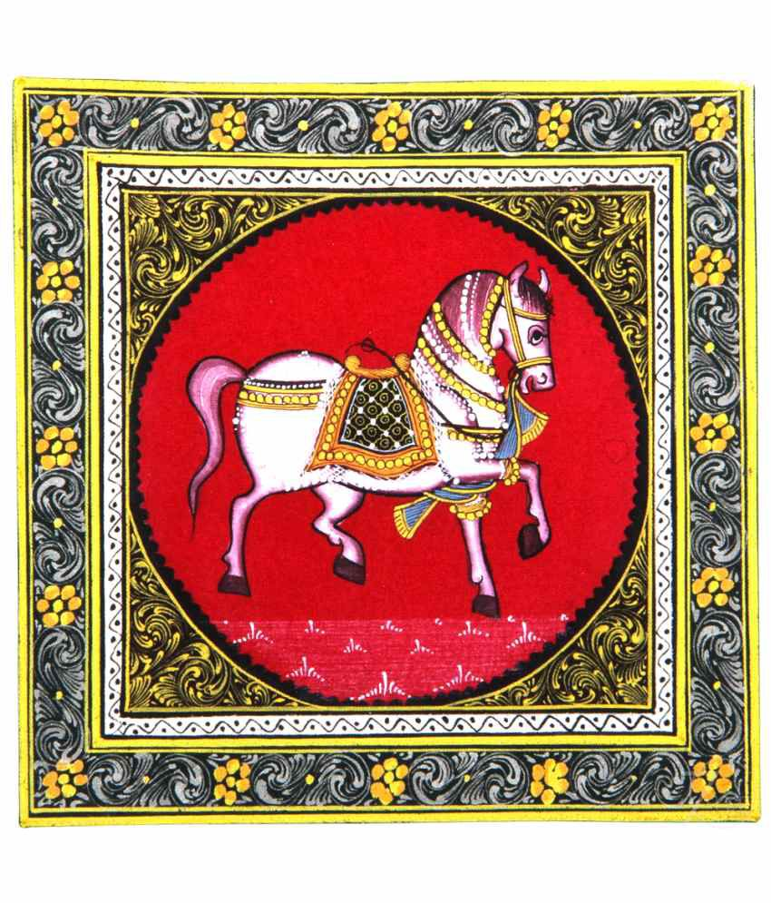 Handmade Indian Miniature Painting-Rajasthani Horse (With Golden Frame)