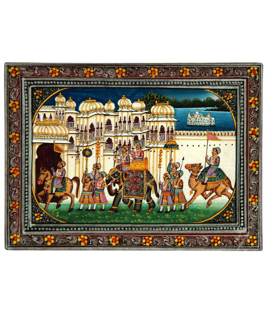 Handmade Indian Miniature Painting-King's Procession and Udaipur Palaces (With Golden Frame)